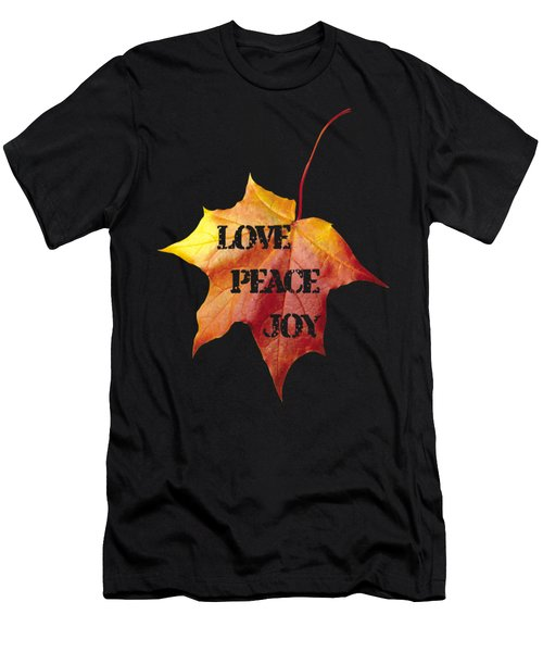 Love Peace Joy Carved On Fall Leaf Men's T-Shirt (Athletic Fit)