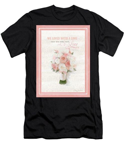 Love Typography Bridal Bouquet Damask Lace Coral Peach Blush Men's T-Shirt (Athletic Fit)