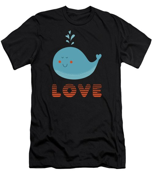 Love Whale Cute Animals Men's T-Shirt (Athletic Fit)