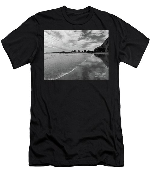Low Tide - Black And White Men's T-Shirt (Athletic Fit)