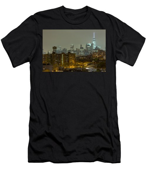 Lower Manhattan Cityscape Seen From Brooklyn Men's T-Shirt (Athletic Fit)