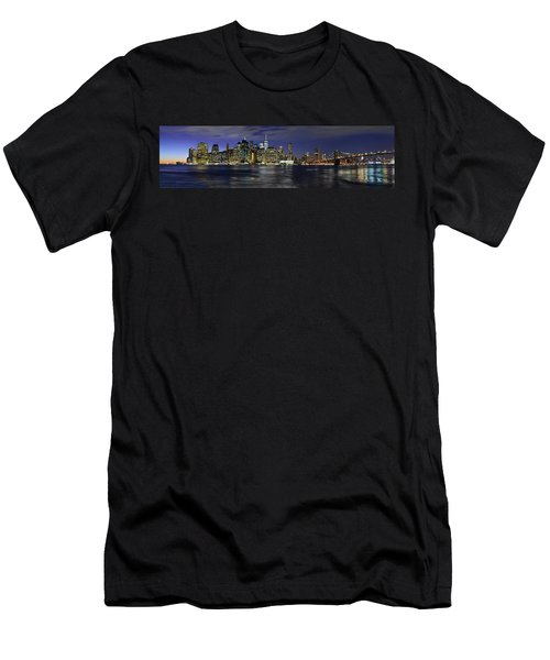 Lower Manhattan From Brooklyn Heights At Dusk - New York City Men's T-Shirt (Athletic Fit)