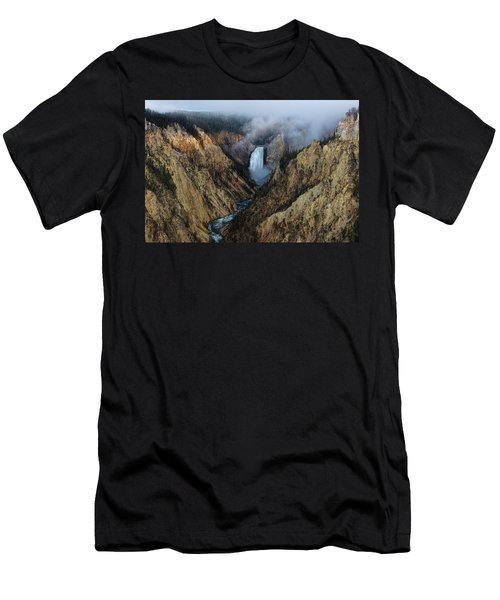 Lower Yellowstone Falls Sunrise Men's T-Shirt (Athletic Fit)