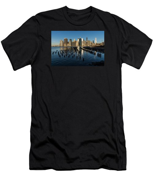 Luminous Blue Silver And Gold - Manhattan Skyline And East River Men's T-Shirt (Athletic Fit)