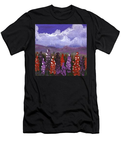Men's T-Shirt (Athletic Fit) featuring the painting Lupine Land #1 by Anastasiya Malakhova