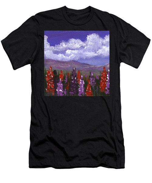 Men's T-Shirt (Athletic Fit) featuring the painting Lupine Land #3 by Anastasiya Malakhova