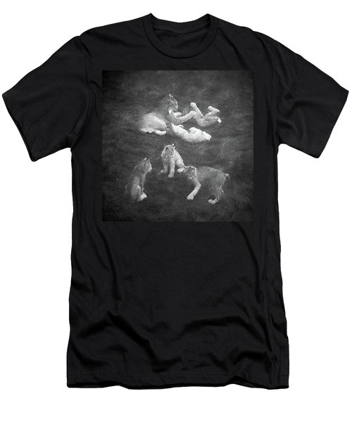 Men's T-Shirt (Athletic Fit) featuring the photograph Lynx In The Mist Bw by Tim Newton
