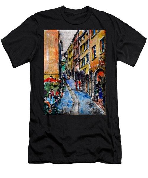 Lyon Cityscape - Street Scene #04 - Rue Du Boeuf Men's T-Shirt (Athletic Fit)