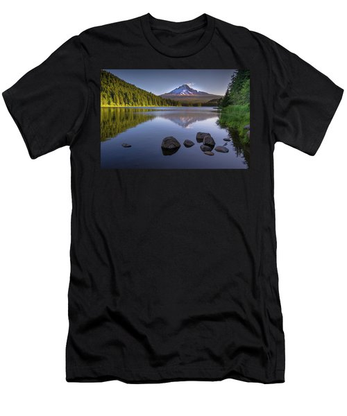 M T Hood Sunrise At Lake Trillium Men's T-Shirt (Athletic Fit)