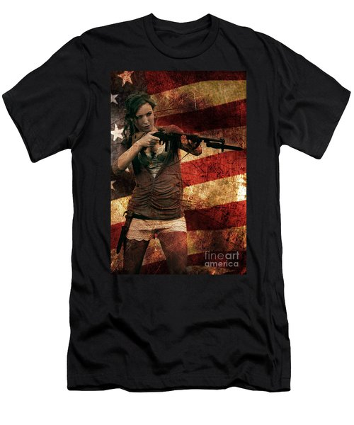 M1 Carbine On American Flag Men's T-Shirt (Athletic Fit)
