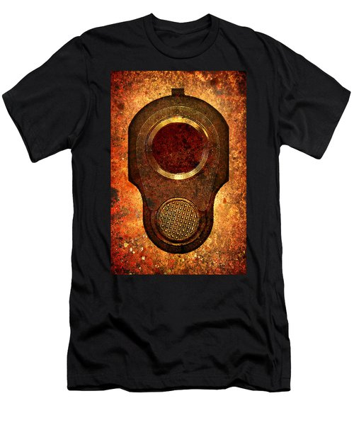 M1911 Muzzle On Rusted Background Men's T-Shirt (Athletic Fit)