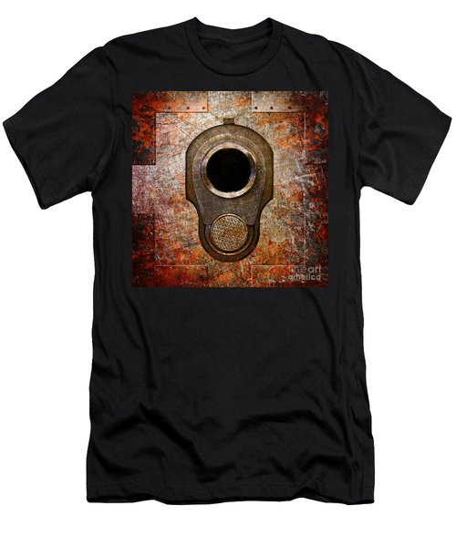 M1911 Muzzle On Rusted Riveted Metal Men's T-Shirt (Athletic Fit)