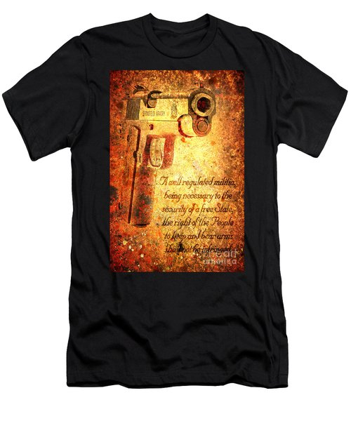 M1911 Pistol And Second Amendment On Rusted Overlay Men's T-Shirt (Athletic Fit)