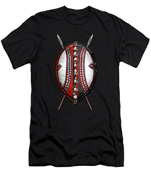 Maasai War Shield With Spears On Red Velvet  Men's T-Shirt (Athletic Fit)
