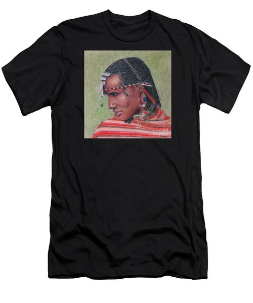Maasai Warrior II -- Portrait Of African Tribal Man Men's T-Shirt (Athletic Fit)