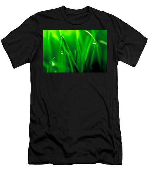 Macro Image Of Fresh Green Grass Men's T-Shirt (Athletic Fit)