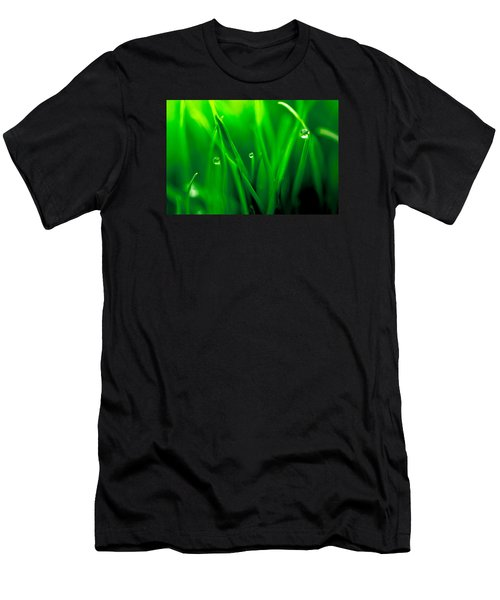 Macro Image Of Fresh Green Grass Men's T-Shirt (Athletic Fit)