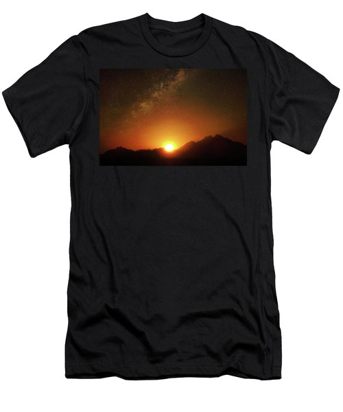 Magical Milkyway Above The African Mountains Men's T-Shirt (Athletic Fit)
