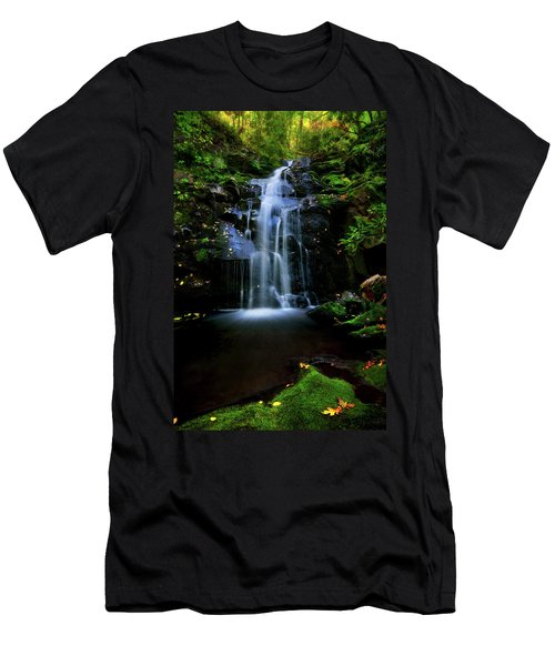 Magical Waterfall Above Spruce Falls In Tremont Smoky Mountains Tennessee  Men's T-Shirt (Athletic Fit)
