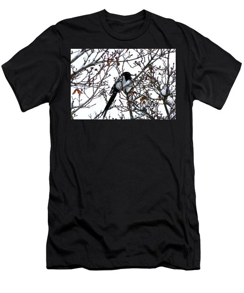 Men's T-Shirt (Slim Fit) featuring the photograph Magpie In A Snowstorm by Will Borden