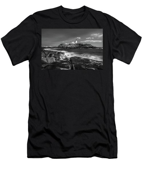 Maine Cape Neddick Lighthouse In Bw Men's T-Shirt (Athletic Fit)