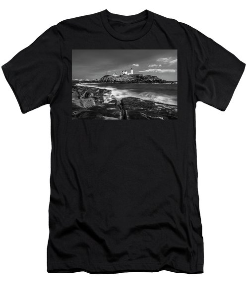 Men's T-Shirt (Athletic Fit) featuring the photograph Maine Cape Neddick Lighthouse In Bw by Ranjay Mitra