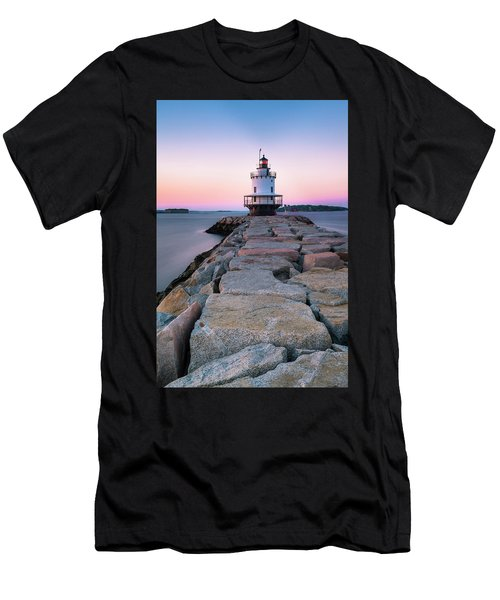 Maine Coastal Sunset Over The Spring Breakwater Lighthouse Men's T-Shirt (Athletic Fit)