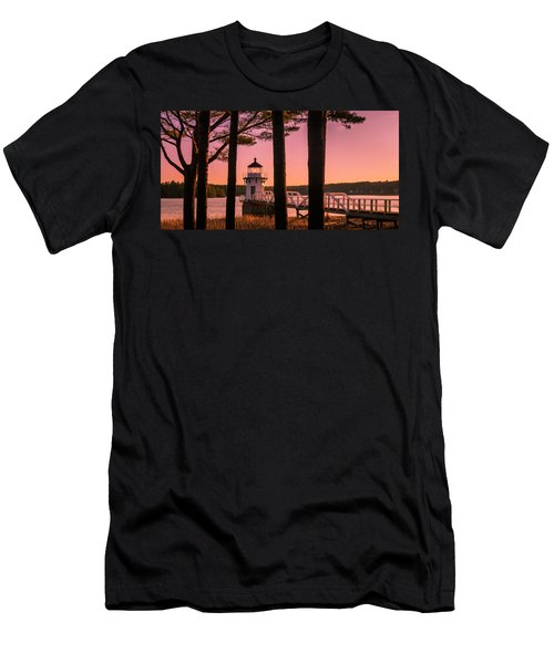 Men's T-Shirt (Athletic Fit) featuring the photograph Maine Doubling Point Lighthouse At Sunset Panorama by Ranjay Mitra