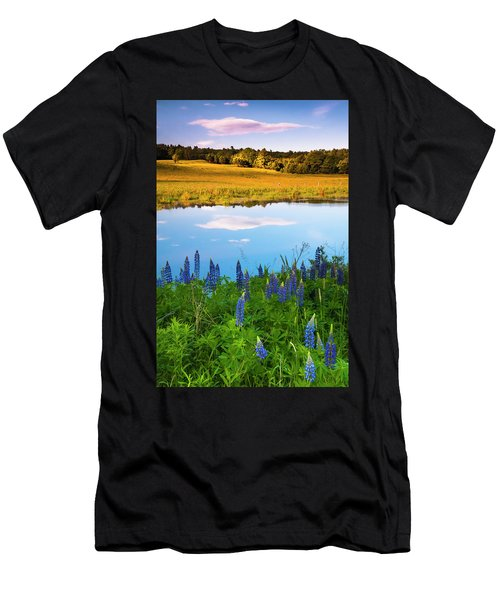 Men's T-Shirt (Athletic Fit) featuring the photograph Maine Field Of Lupines by Ranjay Mitra