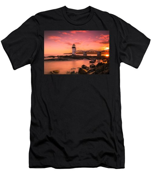 Men's T-Shirt (Athletic Fit) featuring the photograph Maine Lighthouse Marshall Point At Sunset by Ranjay Mitra