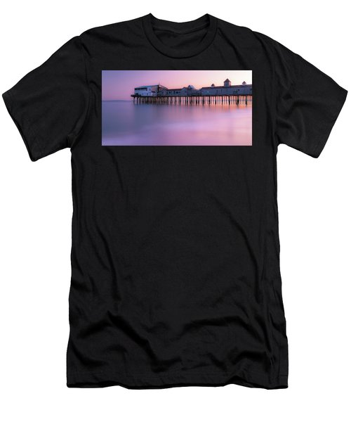Men's T-Shirt (Athletic Fit) featuring the photograph Maine Oob Pier At Sunset Panorama by Ranjay Mitra