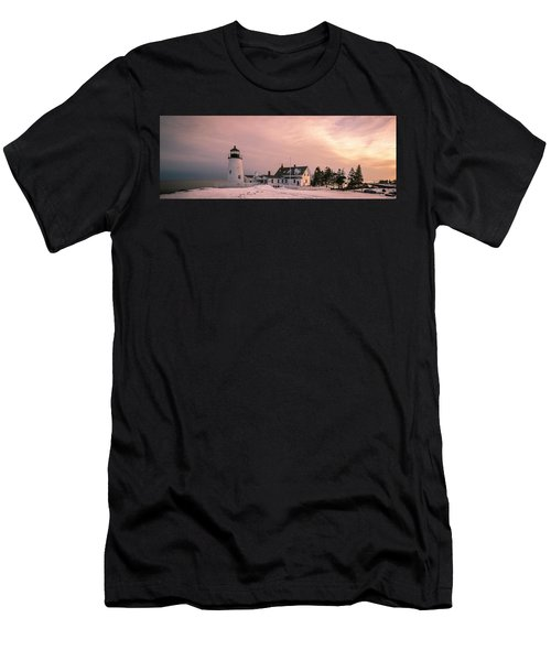 Maine Pemaquid Lighthouse After Winter Snow Storm Men's T-Shirt (Athletic Fit)
