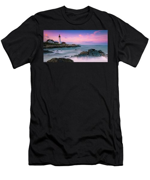 Men's T-Shirt (Athletic Fit) featuring the photograph Maine Portland Headlight Lighthouse At Sunset Panorama by Ranjay Mitra