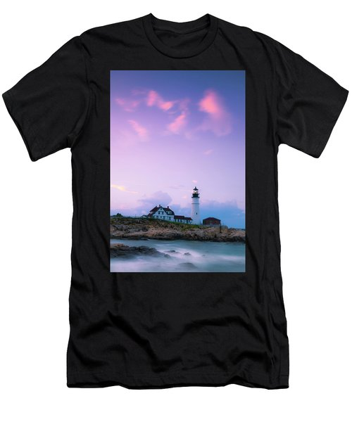 Men's T-Shirt (Athletic Fit) featuring the photograph Maine Portland Headlight Lighthouse In Blue Hour by Ranjay Mitra
