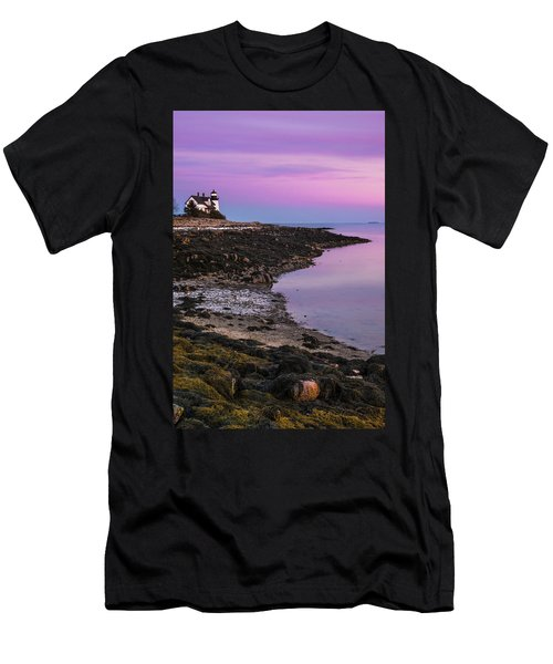 Men's T-Shirt (Slim Fit) featuring the photograph Maine Prospect Harbor Lighthouse Sunset In Winter by Ranjay Mitra