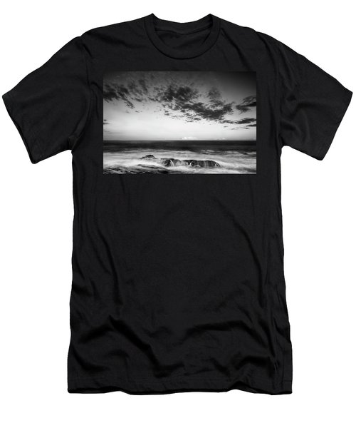 Men's T-Shirt (Athletic Fit) featuring the photograph Maine Rocky Coast With Boulders And Clouds At Two Lights Park by Ranjay Mitra