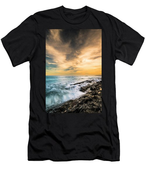 Men's T-Shirt (Slim Fit) featuring the photograph Maine Rocky Coastal Sunset by Ranjay Mitra