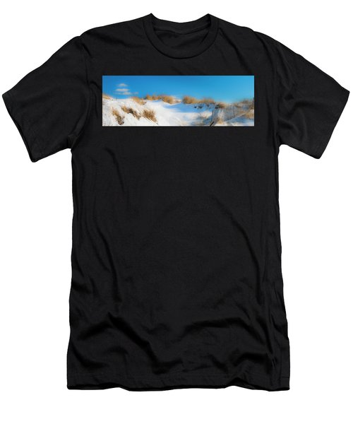 Men's T-Shirt (Athletic Fit) featuring the photograph Maine Snow Dunes On Coast In Winter Panorama by Ranjay Mitra