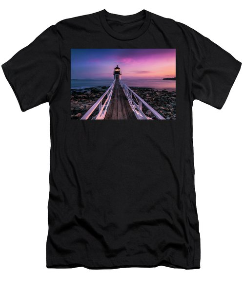 Men's T-Shirt (Slim Fit) featuring the photograph Maine Sunset At Marshall Point Lighthouse by Ranjay Mitra