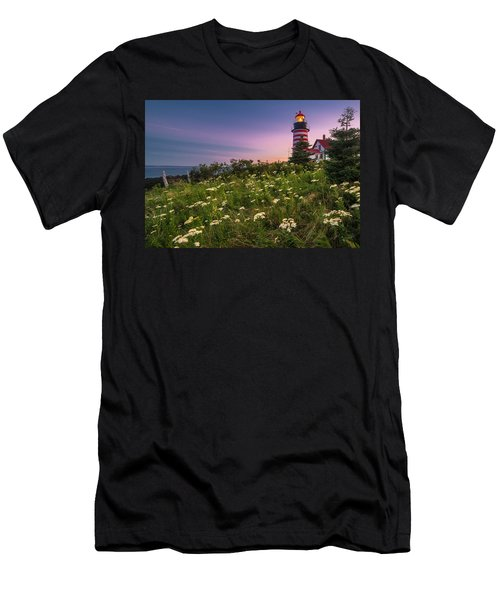 Maine West Quoddy Head Lighthouse Sunset Men's T-Shirt (Athletic Fit)