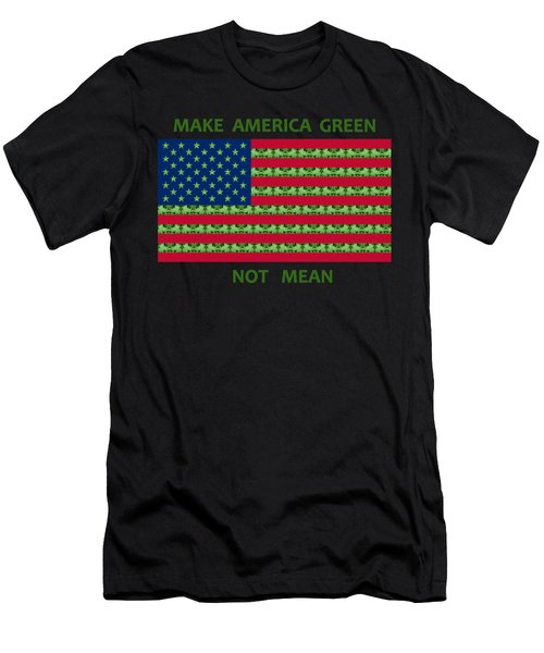 Make America Green Not Mean Usa Flag Men's T-Shirt (Athletic Fit)