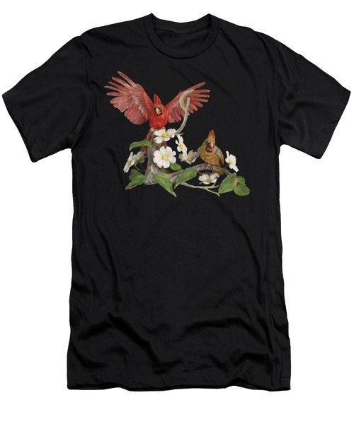 Male And Female Cardinals  Men's T-Shirt (Slim Fit) by Walter Colvin