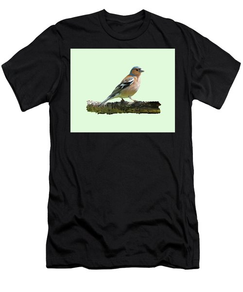 Men's T-Shirt (Slim Fit) featuring the photograph Male Chaffinch, Green Background by Paul Gulliver