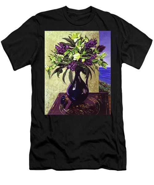 Malibu Hyacinths In Deep Blue Blue  Ceramic Men's T-Shirt (Athletic Fit)