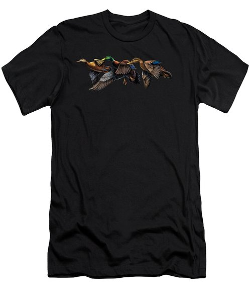 Mallard Ducks In Flight Men's T-Shirt (Athletic Fit)
