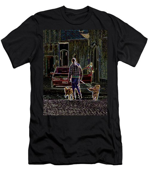Man And Best Friends Men's T-Shirt (Slim Fit) by Rhonda McDougall