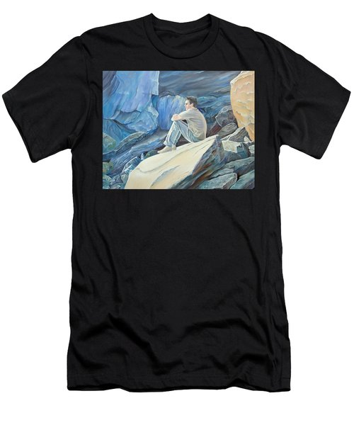 Man On The Rocks Men's T-Shirt (Athletic Fit)