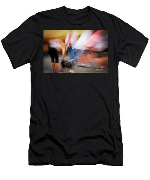 Woman Playing With Dog Men's T-Shirt (Athletic Fit)