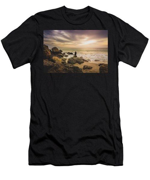 Man Watching Sunset In Malibu Men's T-Shirt (Athletic Fit)