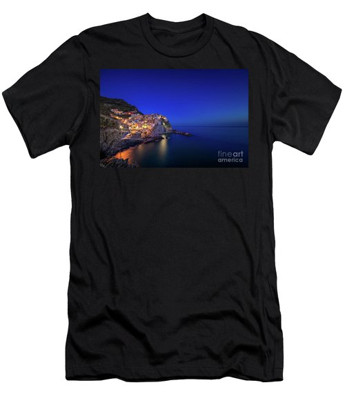 Men's T-Shirt (Athletic Fit) featuring the photograph Manarola Village During Blue Hour At Night by IPics Photography